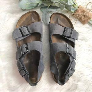 Birkenstock Blue Suede Milano Heel Strap Sandals